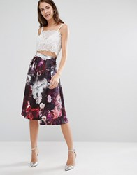 Oasis Winter Floral Midi Skirt Multi