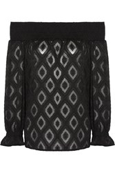 Rebecca Minkoff Atmosphere Off The Shoulder Embroidered Crepe Top Black