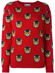 Moschino Toy Bear Intarsia Jumper Red