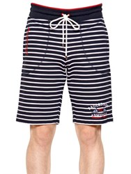 Paul And Shark Striped Cotton Fleece Shorts