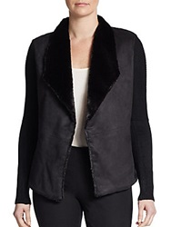 Saks Fifth Avenue Blue Faux Shearling And Knit Jacket Black
