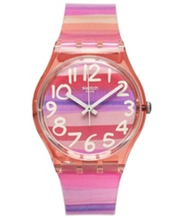 Swatch Watch Unisex Swiss Astilbe Multi Color Plastic Strap 34Mm Gp140