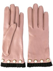 Gucci Pearl Embellished Gloves Pink Purple