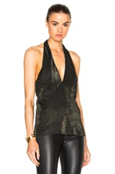 Rosetta Getty Wrap Halter Top In Black Metallics Black Metallics