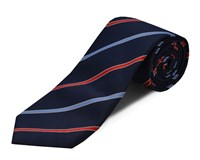 Double Two Polyester Stripe Tie Blue