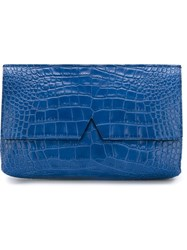 Vince Crocodile Skin Effect Clutch Blue