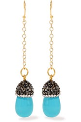 Kevia Gold Tone Stone And Crystal Earrings Turquoise