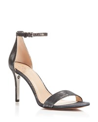 Tory Burch Classic Metallic Ankle Strap High Heel Sandals Anthracite