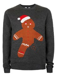 Topman Grey Gingerbread Man Holiday Sweater
