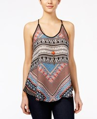 Amy Byer Bcx Juniors' Sleeveless Printed Necklace Blouse Multi