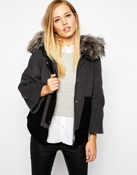 Karen Millen Cropped Jacket With Faux Fur Hood Grey