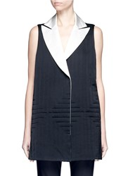 Victor Alfaro Reversible Quilted Satin Vest Black