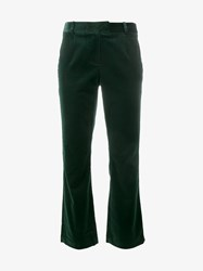 Frame Denim Velvet Kick Flare Trousers Green Denim