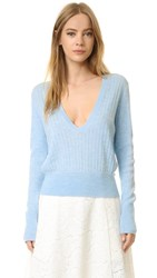 Tome Long Sleeve V Neck Sweater Pale Blue