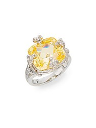 Judith Ripka Olivia Canary Crystal And Sterling Silver Ring Silver Yellow
