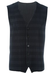 Homme Plisse Issey Miyake Pleated Striped Waistcoat Blue