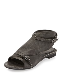 Max Studio Veil Asymmetric Leather Sandal Black