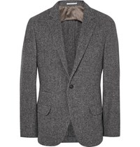 Brunello Cucinelli Grey Slim Fit Herringbone Wool Silk And Cashmere Blend Blazer Gray