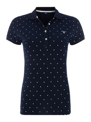 Gant Polka Dot Polo Top Navy
