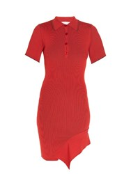 Stella Mccartney Cutaway Hem Ribbed Knit Polo Shirtdress Red