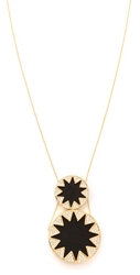 House Of Harlow 1960 Double Sunburst Pendant Necklace Black