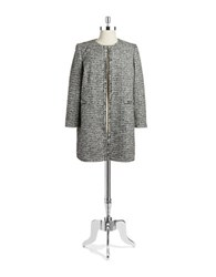Tahari By Arthur S. Levine Plus Chain Trimmed Metallic Tweed Coat Black Ivory