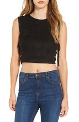 4Si3nna Women's Lace Up Faux Suede Crop Tank