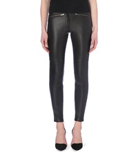 Reiss Skinny Leather Trousers Black