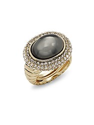 Saks Fifth Avenue Fancy Oval Pave Ring Grey