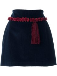 Au Jour Le Jour Tassel Detail Mini Skirt Blue
