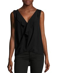 Velvet By Graham And Spencer Ruffled Surplice Shell Black