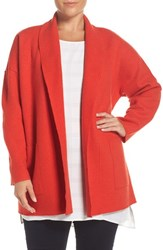 Eileen Fisher Plus Size Women's Boiled Wool Shawl Collar Coat Poppy
