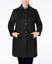 Anne Klein Plus Size Wool Cashmere Single Breasted Walker Coat Only At Macy's Black