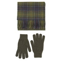 Barbour Men's Scarf And Glove Gift Box Classic Olive