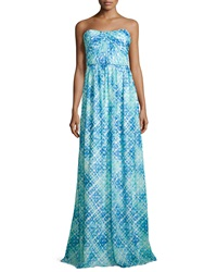 Shoshanna Jennifer Strapless Dress Aqua Cyan Multi