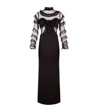 Alessandra Rich Lace Ruffle Sleeve Gown Female Black