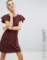Vero Moda Petite Emma Dress With Ruffle Sleeves Decadent Chocolate Brown