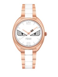 Momento Fendi Bug Diamond Rose Goldtone Stainless Steel And Ceramic Bracelet Watch Rose Gold White