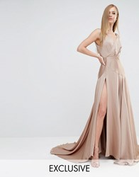 Fame And Partners Royal Satin Maxi Dress With Thigh Split Dark Tan Beige