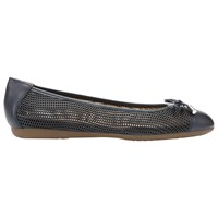 Geox Lola Bow Laser Cut Flat Pumps Navy Leather
