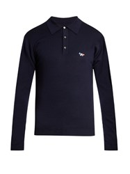 Maison Kitsune Logo Applique Long Sleeved Polo Top Navy