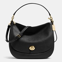 Coach Turnlock Hobo In Polished Pebble Leather Light Gold Black