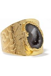 Dara Ettinger Gold Tone Geode Ring Metallic