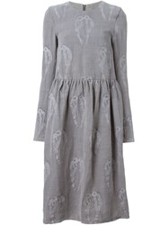 Alice Waese Embroidered Long Sleeve Big Dress Grey