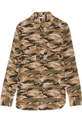 Equipment Printed Silk Shirt Army Green