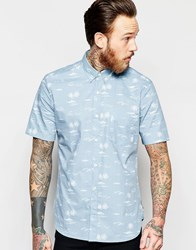 French Connection Short Sleeve Palm Print Shirt Blue