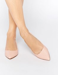 Asos Lost Pointed Ballet Flats Nude Croc