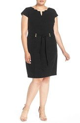 Plus Size Women's Ellen Tracy Belted Cap Sleeve Sheath Dress Black