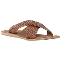 Dune Interlace Leather Sandals Tan
