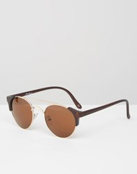Jeepers Peepers Round Sunglasses In Matt Brown Brown